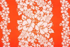 Mens Triple Lei Sarong in Orange/White