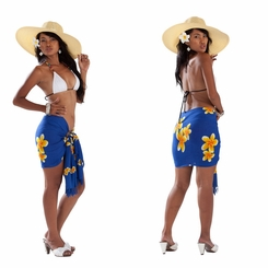 "Mini Plumeria Sarong ""Blue / Yellow"""