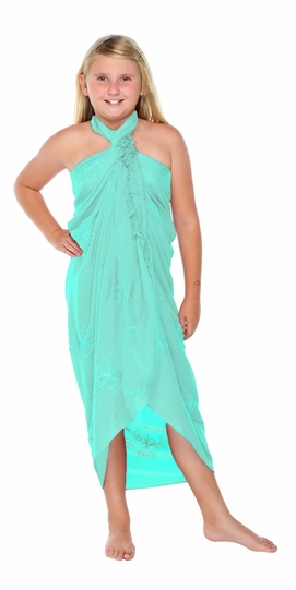 Mint Embroidered Girls Sarong