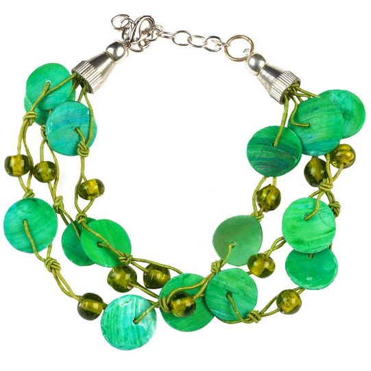Mother Of Pearl Anklet Bracelet in Green - Final Sale - No Returns