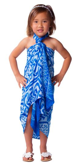 Kids Abstract Tribal Sarong Light Blue
