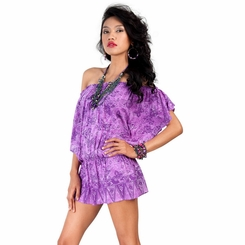 Off the Shoulder Purple Butterfly Cover-Up Top Short Dress