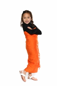 Orange Embroidered Girls Sarong