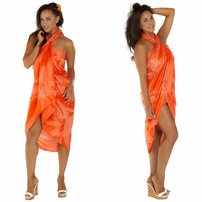 """Orange"" Smoked Sarong PLUS SIZE XL - 3X - Fringeless Sarong"