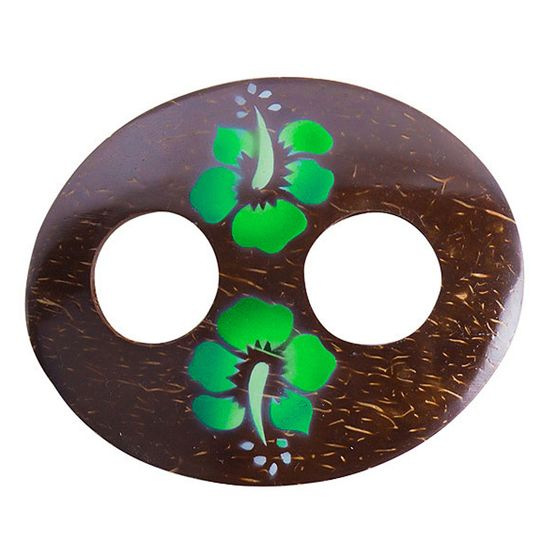 Oval Coconut Sarong Tie with Hand Painting in Green