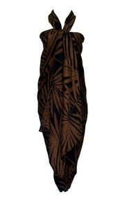 Palm Leaf Fringeless Sarong Hawaiian Style Floral