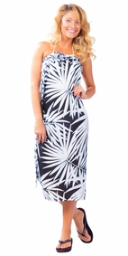Pareo / Sarong / Pareau Hawaiian Style Floral Wrap Palm Leaf 9 - Black/White