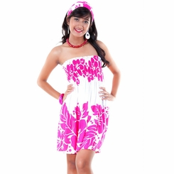 Pink and White Three Leis Strapless Dress Cover-Up - Bonus Scarf Included - Final Sale - No Returns