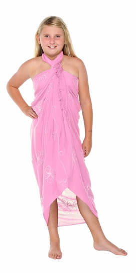 Pink Embroidered Girls Sarong - Final Sale - No Returns