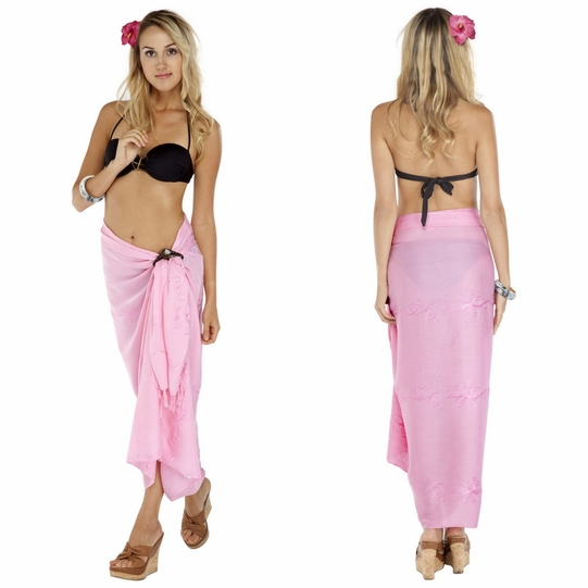 Pink Embroidered Sarong - Final Sale - No Returns