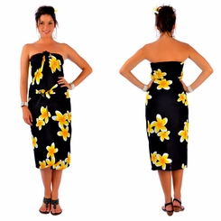Plumeria PLUS SIZE Sarong in Black / Yellow - Fringeless Sarong