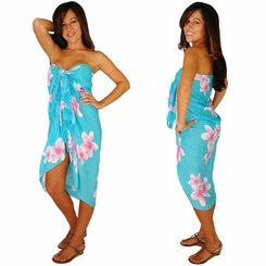 "Plumeria Sarong ""Light Turquoise / Pink"" - Call to Order"