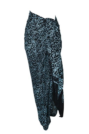 Plus Size Abstract Floral Sarong in Black/Turquoise - Fringeless Sarong