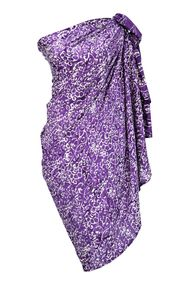 Plus Size Abstract Floral Sarong in Wisteria Purple - Fringeless Sarong