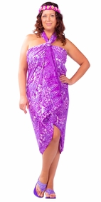 "Plus Size Abstract Floral Sarong ""Venus Shining"" Purple and White - Fringeless Sarong"