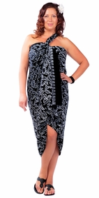 """Plus Size Abstract Floral Sarong Fringeless """"Ebony and Ivory"""" Black and White"""