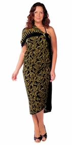 "Plus Size Abstract Floral Sarong Fringeless ""Glimmer Glam"" Gold and Black"