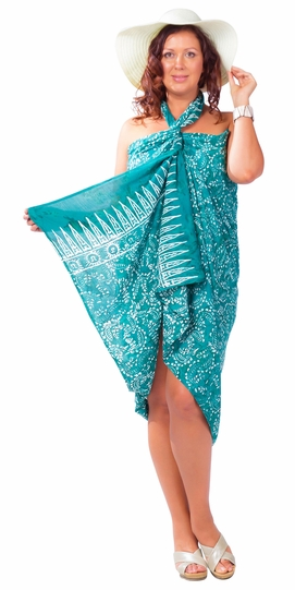 """Plus Size Abstract Floral Sarong Fringeless """"Dreamy Sea"""" Hunter Green and White"""