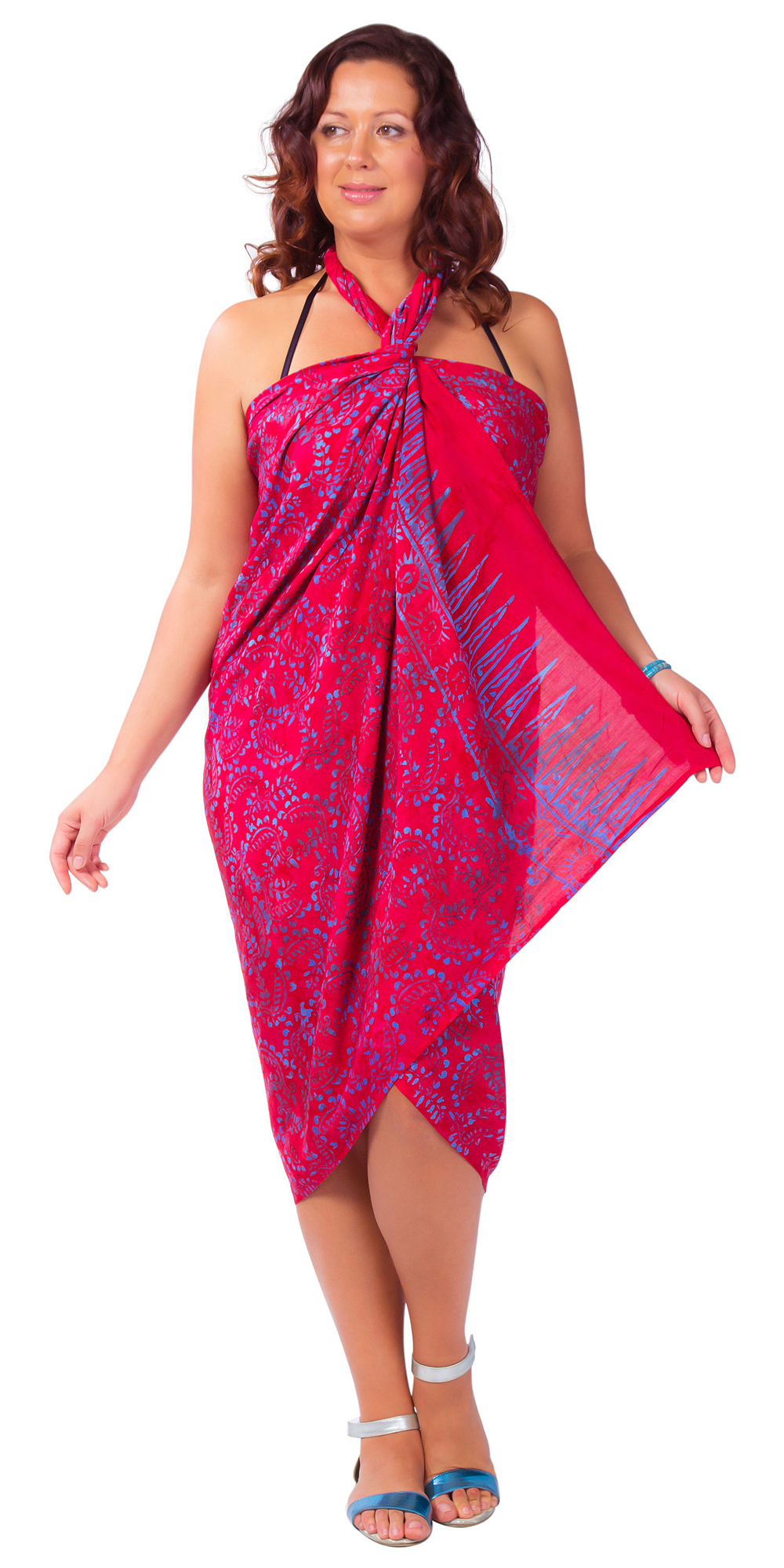 7a9595515 Plus Size Abstract Floral Sarong Fringeless