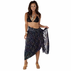 "Plus Size Abstract Floral Sarong ""Bohemian Brenda"" Orange Pink and Black - Fringeless Sarong"