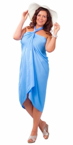 "PLUS SIZE ""Light Blue"" - Fringeless Sarong"