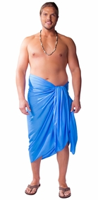 "PLUS SIZE ""Light Blue"" Mens Sarong - Fringeless Sarong"
