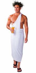 PLUS SIZE Mens Sarong in White - Fringeless Sarong