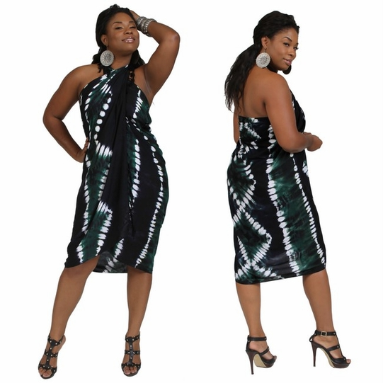 PLUS Size Tie Dye Sarong Turquoise Green - Fringeless Sarong - Call to Order