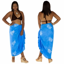 Plus Sized Hibiscus Flower Sarong Light Blue