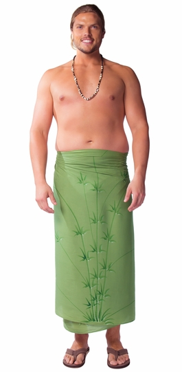 PLUS Sized Mens Sarong Bamboo Olive Green FRINGELESS