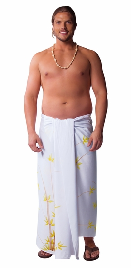 Plus Sized Mens Sarong Bamboo White Fringeless