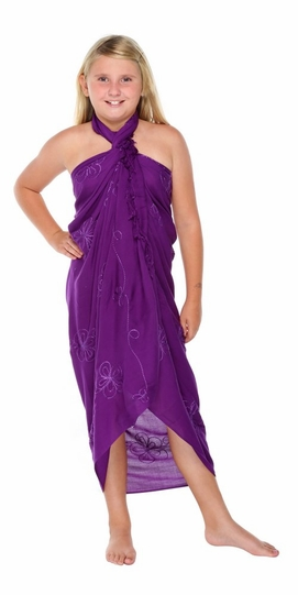 Purple Embroidered Girls Sarong