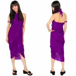 Purple Embroidered Sarong