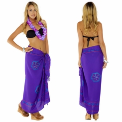 Purple Sarong w/ Triple Embroidery