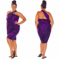 """Purple"" Smoked Sarong PLUS SIZE XL - 3X + - Fringeless Sarong"