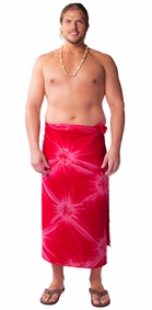 """Red"" Smoked Mens Sarong PLUS SIZE XL - 3X + - Fringeless Sarong"