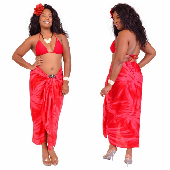 """Red"" Smoked Sarong PLUS SIZE XL - 3X + - Fringeless Sarong"