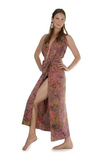 Rose Brown Floral Top Quality Plus Size Sarong - Fringeless Sarong
