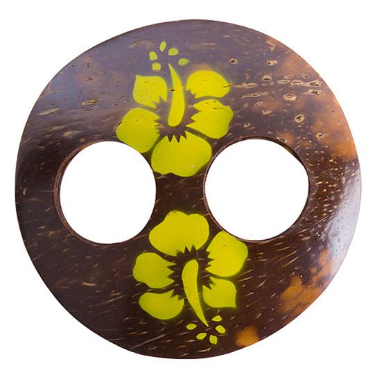 Round Coconut Sarong Tie with Hand Painting in Yellow