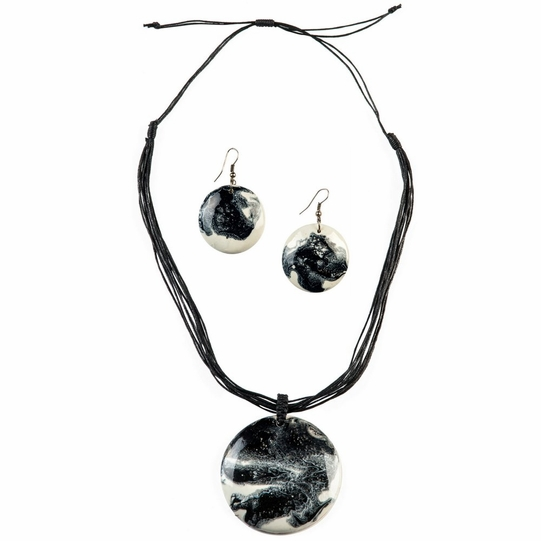 Round Wooden Necklace and Earring Set in Black & White Design