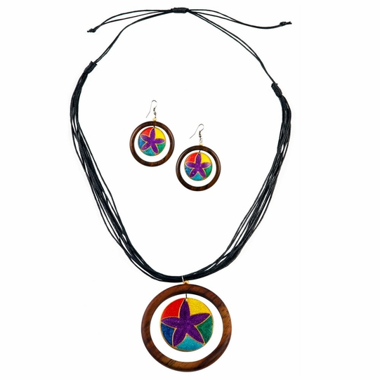 Round Wooden Necklace and Earring Set in Dangling Star Design - Final Sale - No Returns