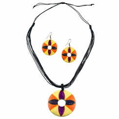 Round Wooden Necklace and Earring Set in Floral Design
