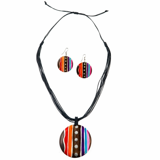 Round Wooden Necklace and Earring Set in Line Design