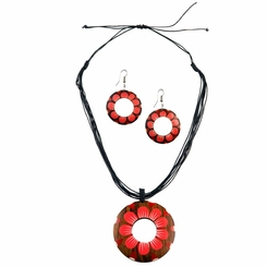 Round Wooden Necklace and Earring Set in Pink Sun Flower Design