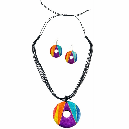 Round Wooden Necklace and Earring Set in Triangle-1 Design