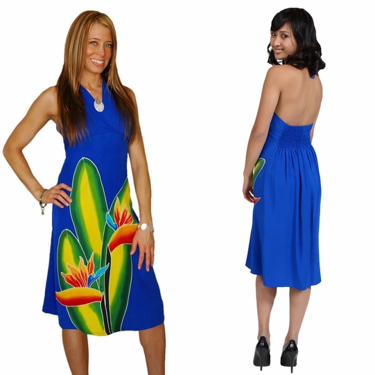 Royal Blue Womens Sundress With Hand Painted Bird Of Paradise Design
