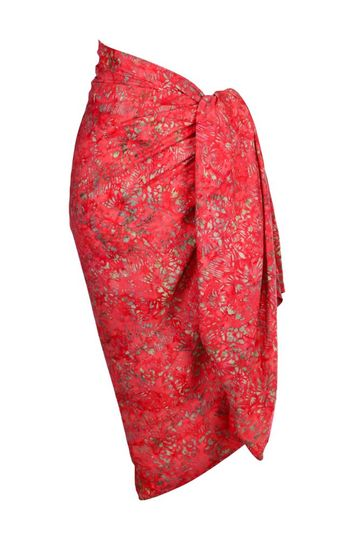 Red Abstract Top Quality Plus Size Sarong - Fringeless Sarong