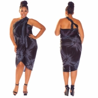 "Sarong ""Charcoal Gray"" Smoked PLUS SIZE - Fringeless Sarong"