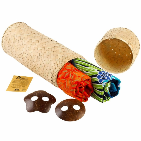 Sarong Combo Gift Set in Hand Woven Cylinder Gift Box - 2 Sarongs