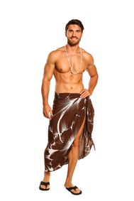 Sarong for Men Big Hibiscus Floral Beach Wrap Sarong in Brown